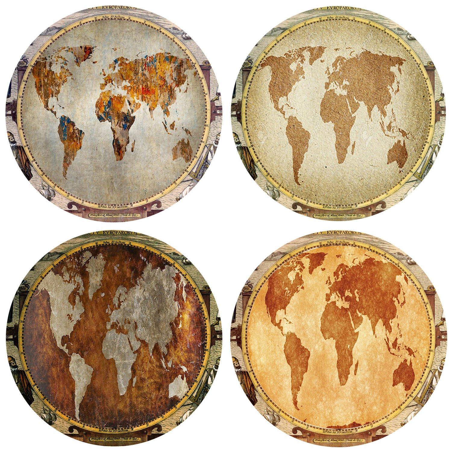 QIMOUSE Coasters Non Slip Set of 4, Ceramic World Map Design Coasters