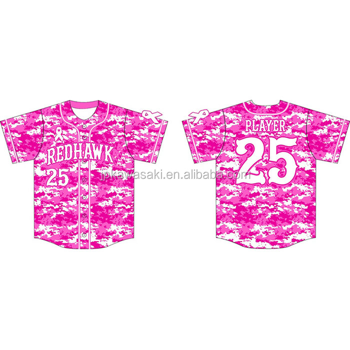 wholesale blank slim fit women hot pink digital camo baseball jersey