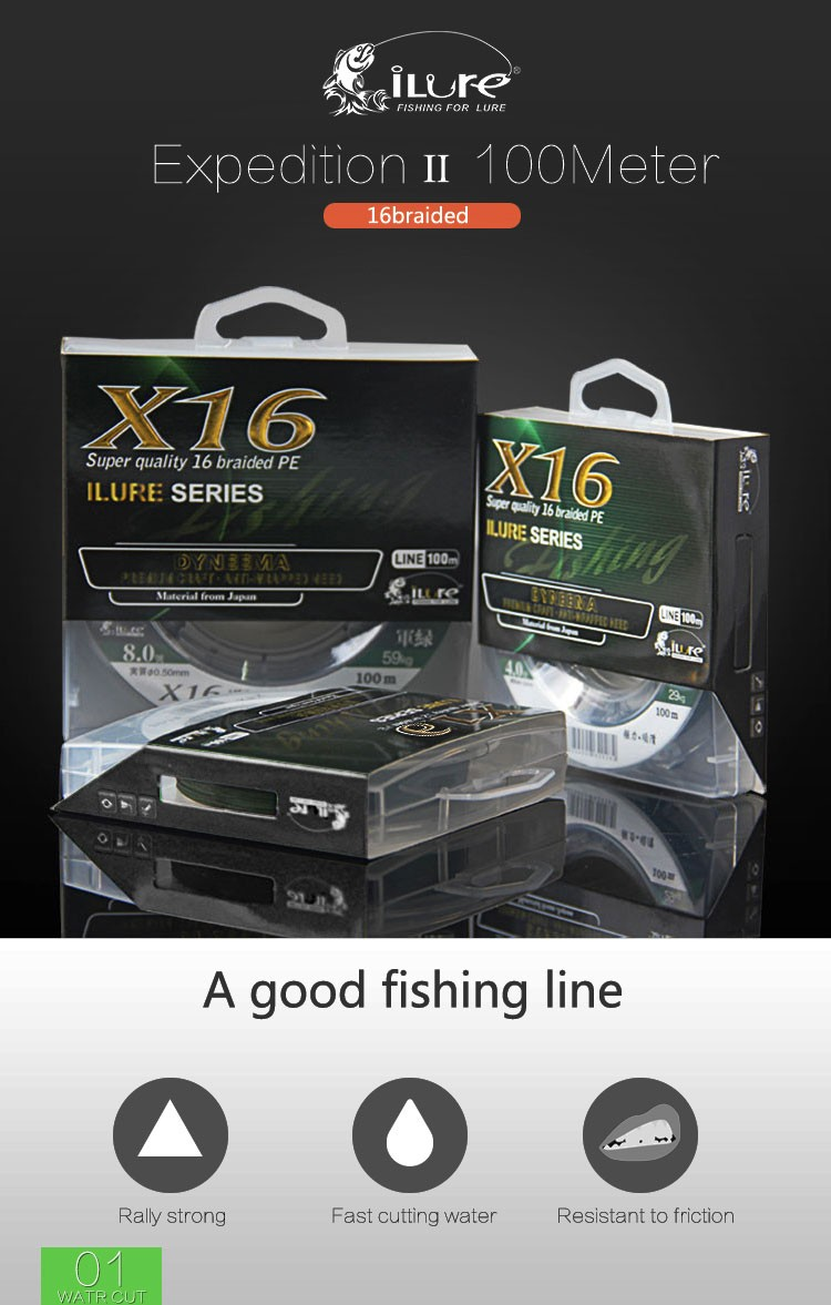 new products 2017 braided fishing line 16 strand 100m