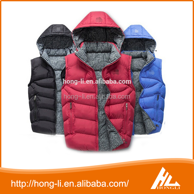 Top quality fashion zipper winter hooded jacket children's sleeveless down vest