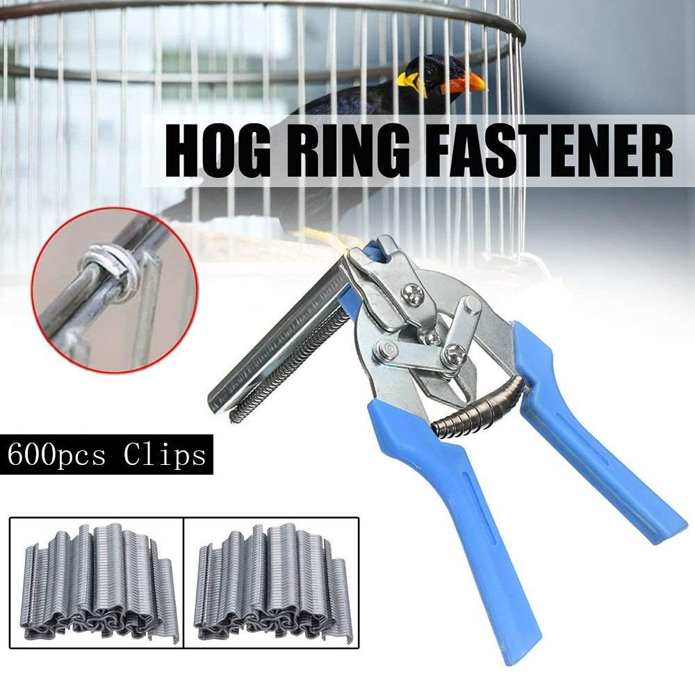 Hog Ring Pliers Tools, Type M Nail Poultry Cage Fasten Plier Wire Cage Clamp for Bird Chicken Mesh Cage Wire Fencing (600pcs nail)