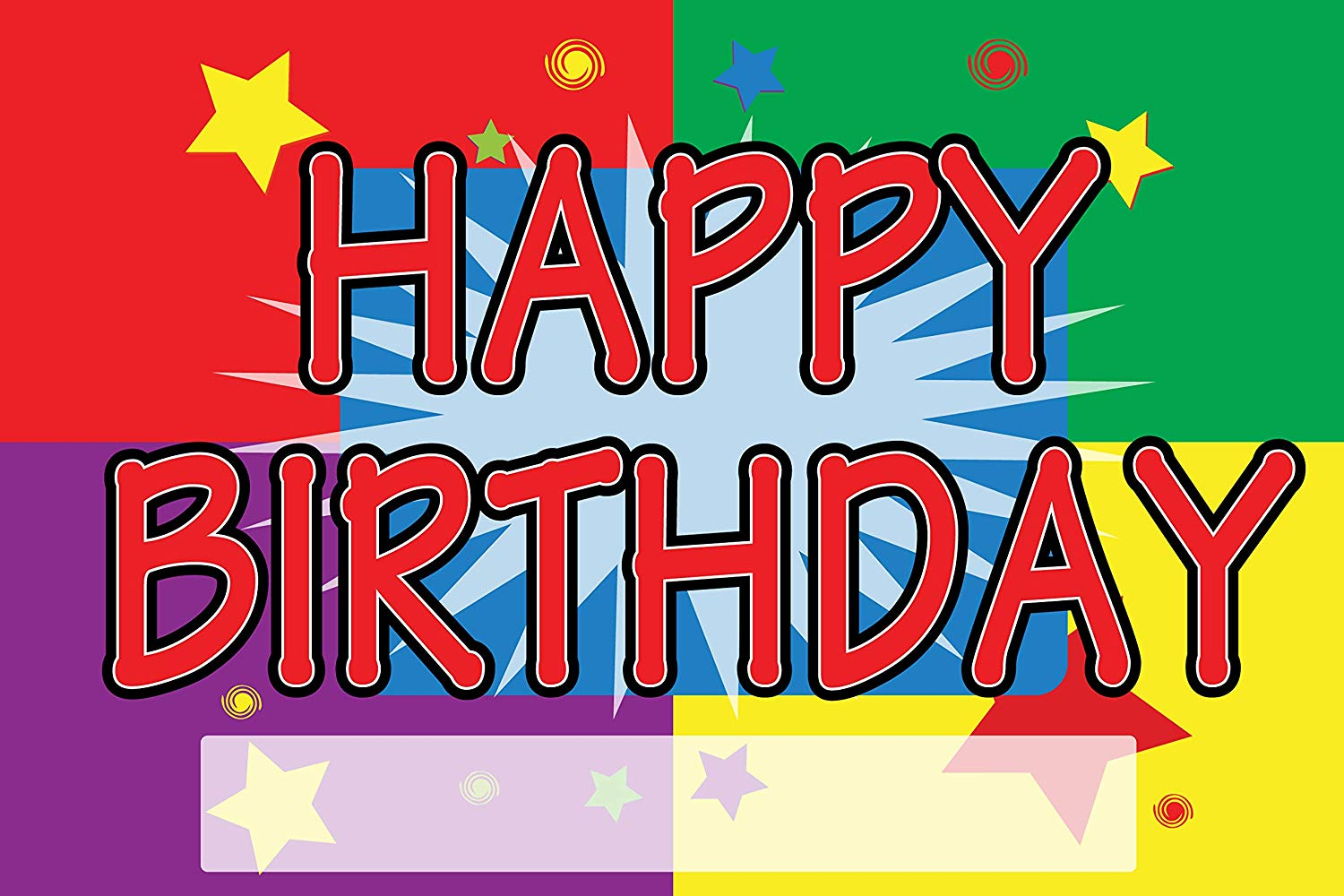 """BannerBuzz Happy Birthday Yard Sign with Metal Stakes, Non-Reflective UV Print Corrugated Plastic Sheets for Indoor & Outdoor Garden Signs (12"""" (H) X 18"""" (W))"""