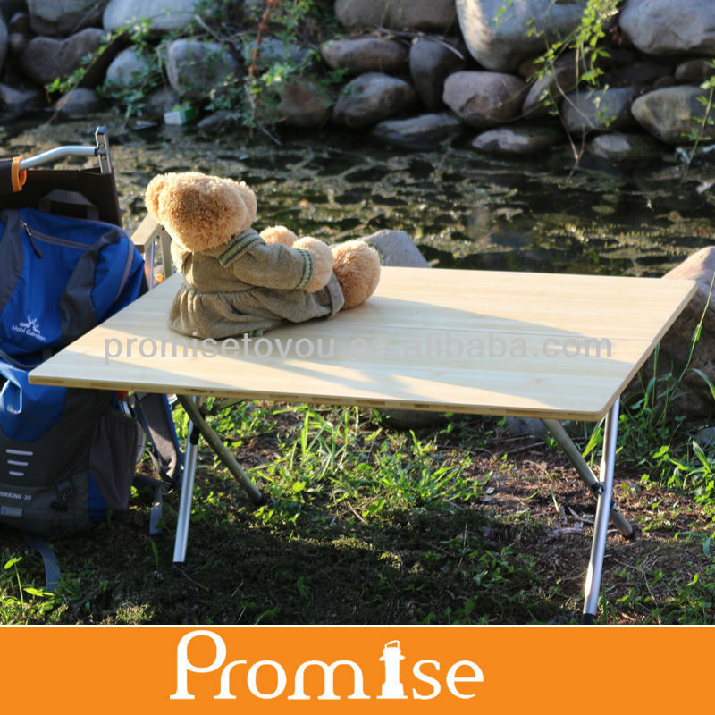 Latest style bamboo folding camping table with carry bag PCT-341