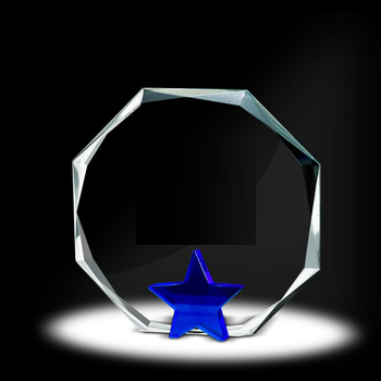 Crystal glass Facetted Octagon Award with blue star base for staff trophy