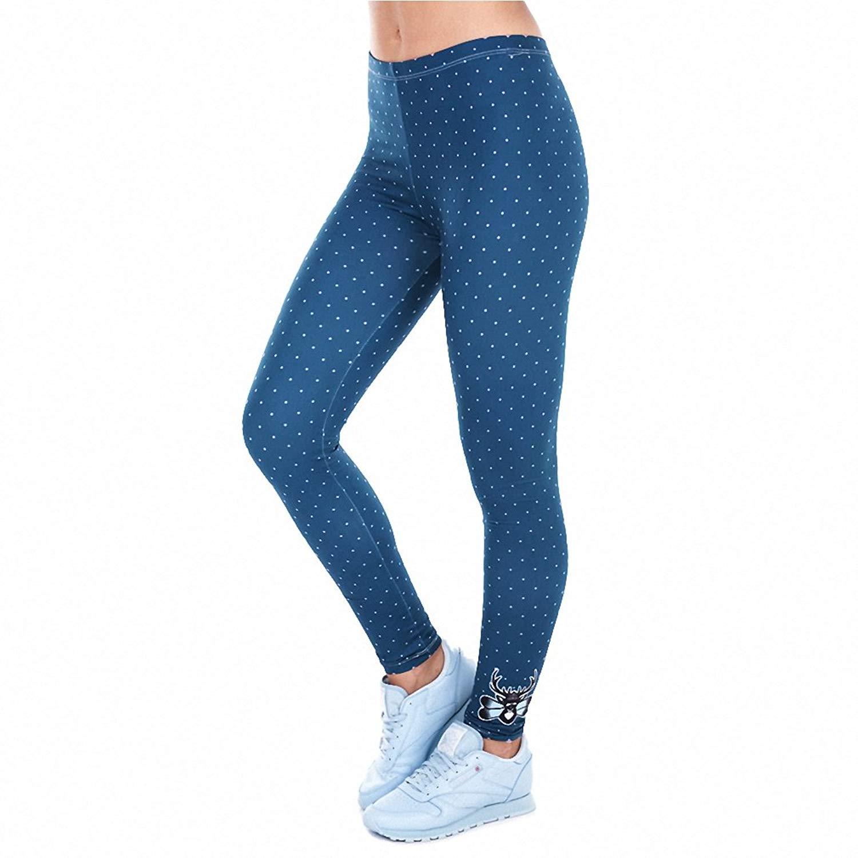 Printed Women Freeride Deer Dots Legging High Waist Legins Elastic Silm Fit Women Pants Leggings