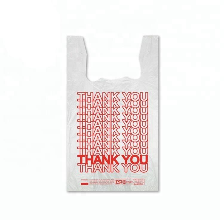 Personnalisé imprimé fécule de maïs biodégradable t-shirt sacs bio pla racine de manioc organique en plastique sac à provisions