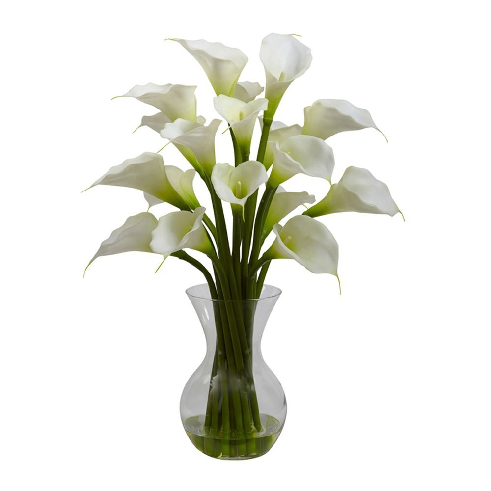 Nearly Natural Home Indoor Decorative Tabletop Galla Calla Lily With Vase Arrangement Cream