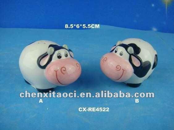 Vaca de cerámica sal y pimienta shaker-vaca de cerámica mango taza ...