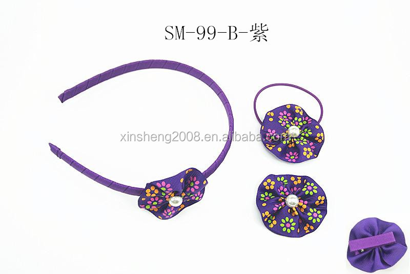 Elegant purple liberty print floral baby headbands