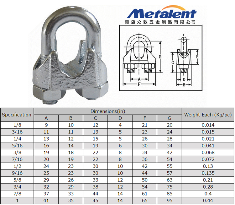Din 741 Malleable Wire Rope Clip,Wire Rope Clamp In Rigging Hardware ...