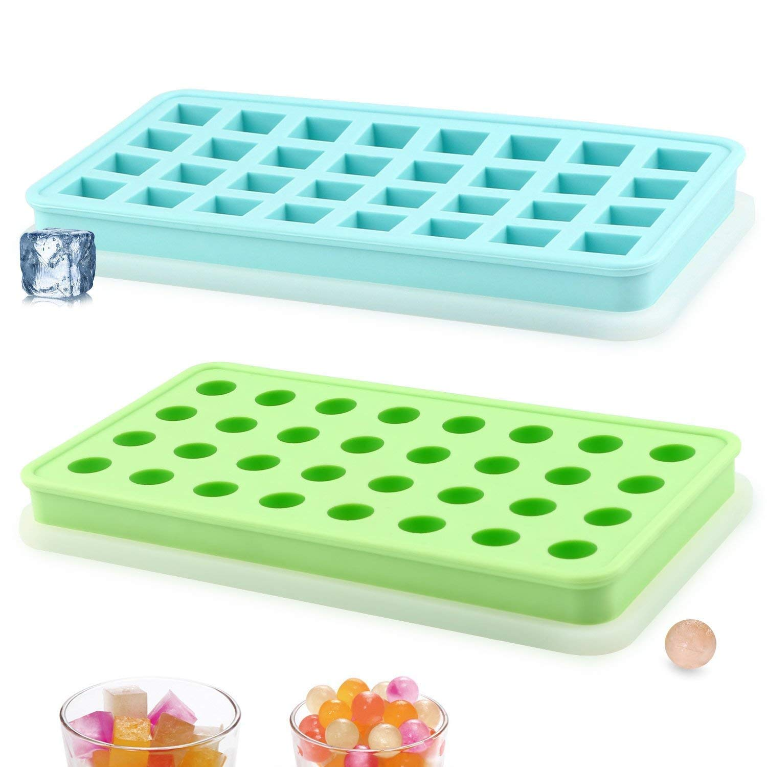 WINIT 2-Pack Silicone Ice Cube Trays with Watertight Lids, 72 Grid Flexible Easy Release Ice Cubes Mold Storage Tray w/Double Security Leak-Proof Silicone Cover, Water Diversion Design (Blue+Green)