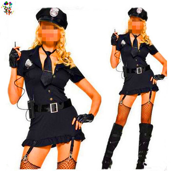 Adult Womens Black Police Cop Sexy Costumes HPC-3159