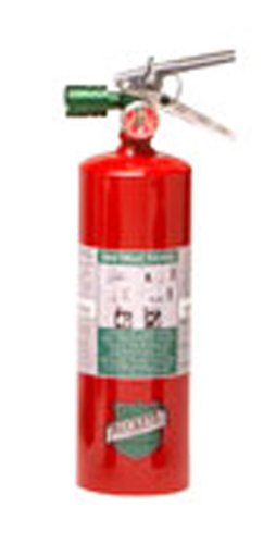 "Buckeye 70251 Halotron Hand Held Fire Extinguisher with Aluminum Valve and Vehicle Bracket, 2.5 lbs Agent Capacity, 3-3/8"" Diameter x 5-5/8"" Width x 13-3/8"" Height"