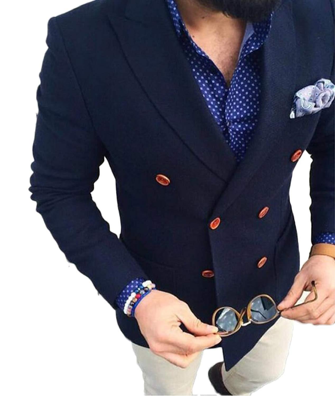 151d02a958d8 Get Quotations · 2 Pieces Men s Navy Blue Peak Lapel Suit Wedding Suit  Double Breasted Groom Tuxedo Suit Summer