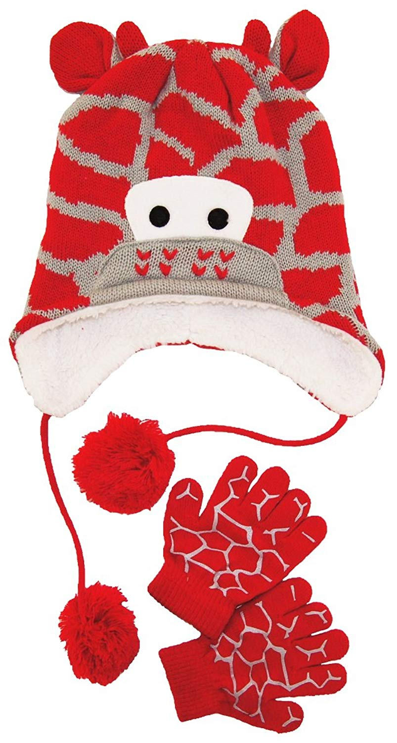 d6c235fea2d38 Get Quotations · Wippette Baby Boys Winter Sherpa Lined Giraffe Hat and  Glove Set 12-24 Months