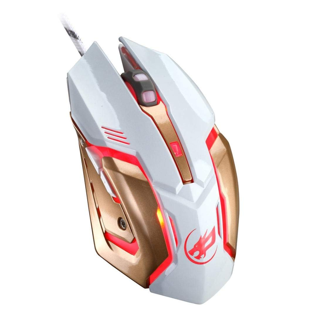 Cywulin Wired Gaming Mouse, 2400DPI 4 Adjustable DPI Levels, 6 Buttons Breathing LED Backlights High Precision Optical Wired Ergonomic Gaming Mouse for PC,Laptop, Notebook, Desktop, Tablet (white)