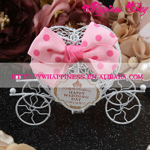 Baby White Carriage Chocolate Boxes with Bow Tie Decoration Favors