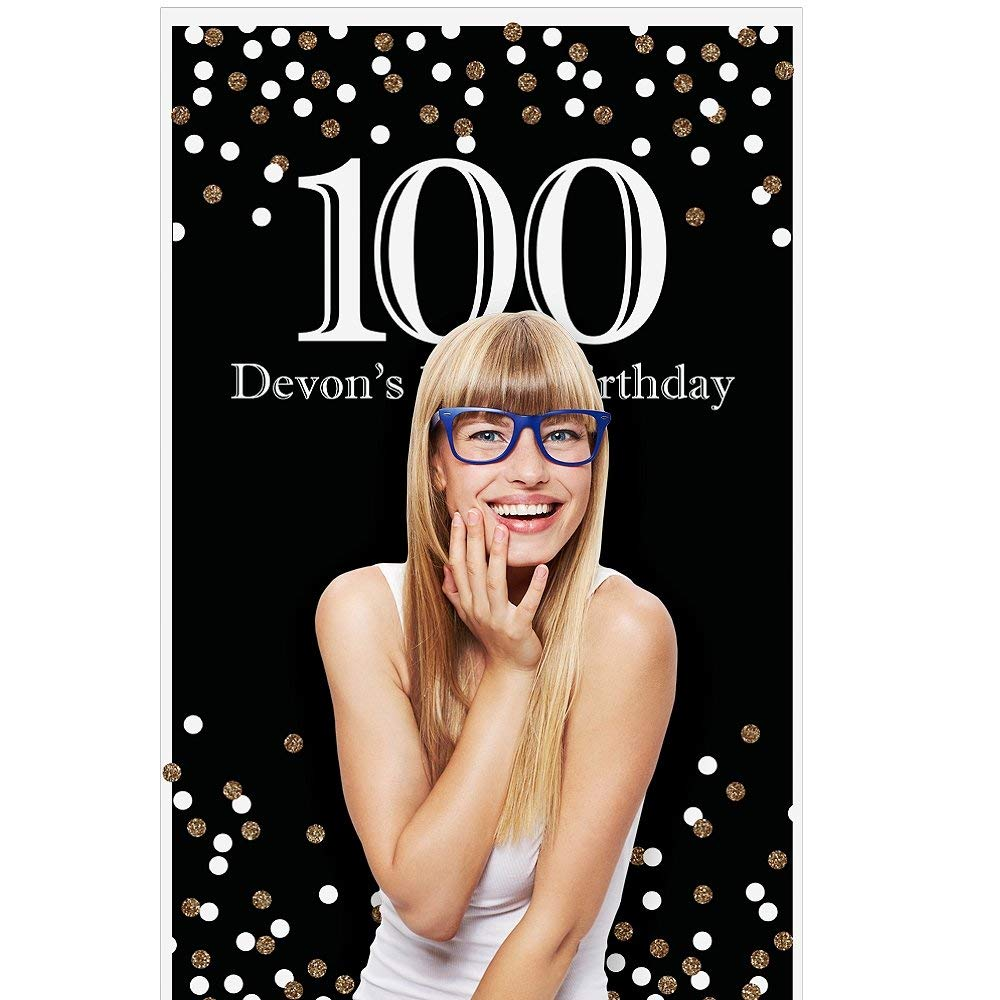 "Big Dot of Happiness Custom Adult 100th Birthday - Gold - Personalized Birthday Party Photo Booth Backdrops - 36"" x 60"""