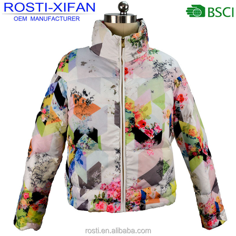 Women Clothing Winter Duck Down Jacket Fashion Printed Design for Female Outerwear