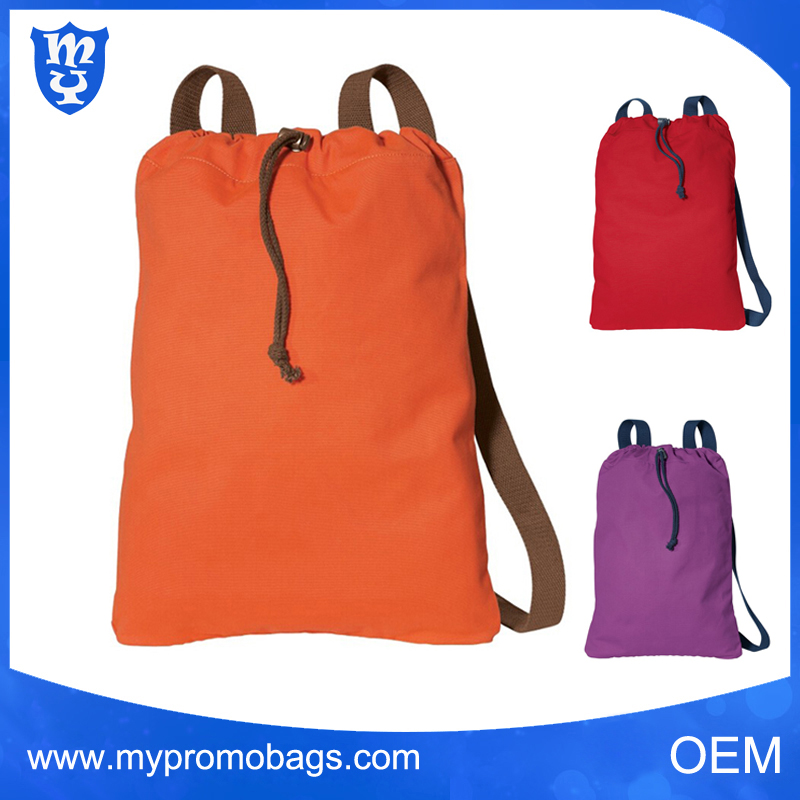 Durable cotton fabric back zippered drawstring bags backpack beach bags