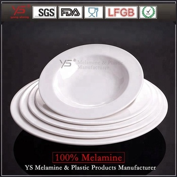 Multi size unbreakable hotel round plate ,microwave safe plastic restaurant serving white plates,plates serving dishes