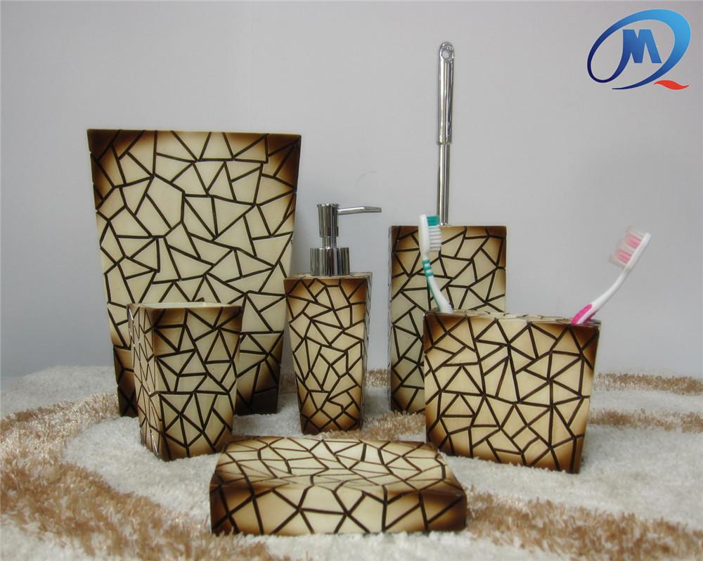 Badkamer accessoires set: polyresin bruin marmer goud scroll velg ...