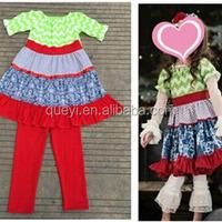 children frocks designs cotton chevron fabric floral dress baby clothes set infant clothing
