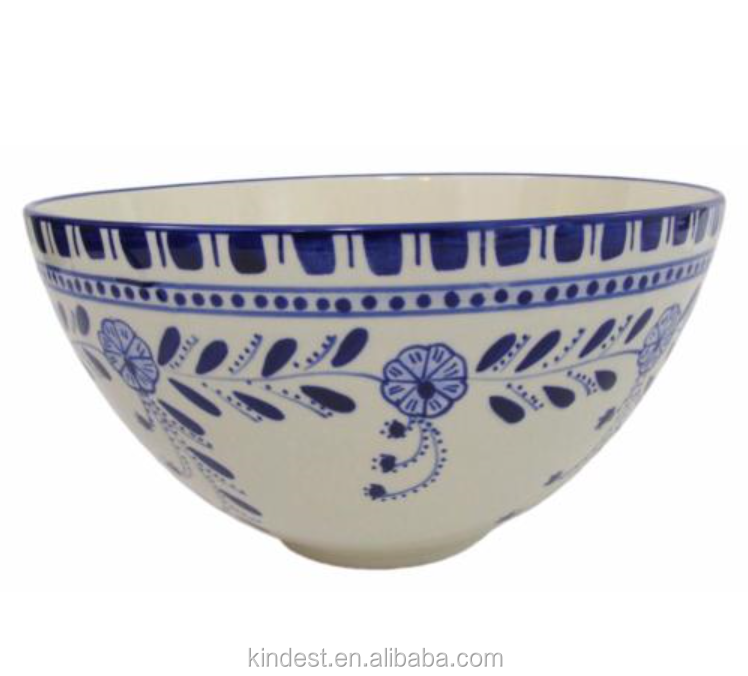 "Deep Salad Bowl 12"" Ceramic Serving Hand-Painted Turkish Style"