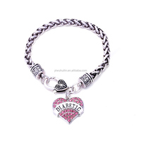 Awareness Alert four colors Crystal Heart letter DIABETIC wheat link chain Lobster Claw Bracelet wholesale jewelry free shipping