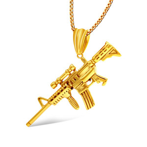 Yiwu ruigang 2018 new design quality custom logo 14k gold gun pendant