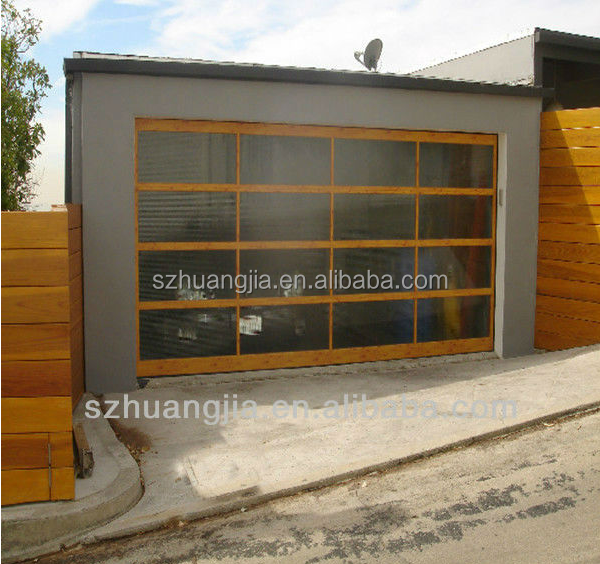 Modern Wooden Frame Tempered Glass Panel Weather Proof Entry Garage