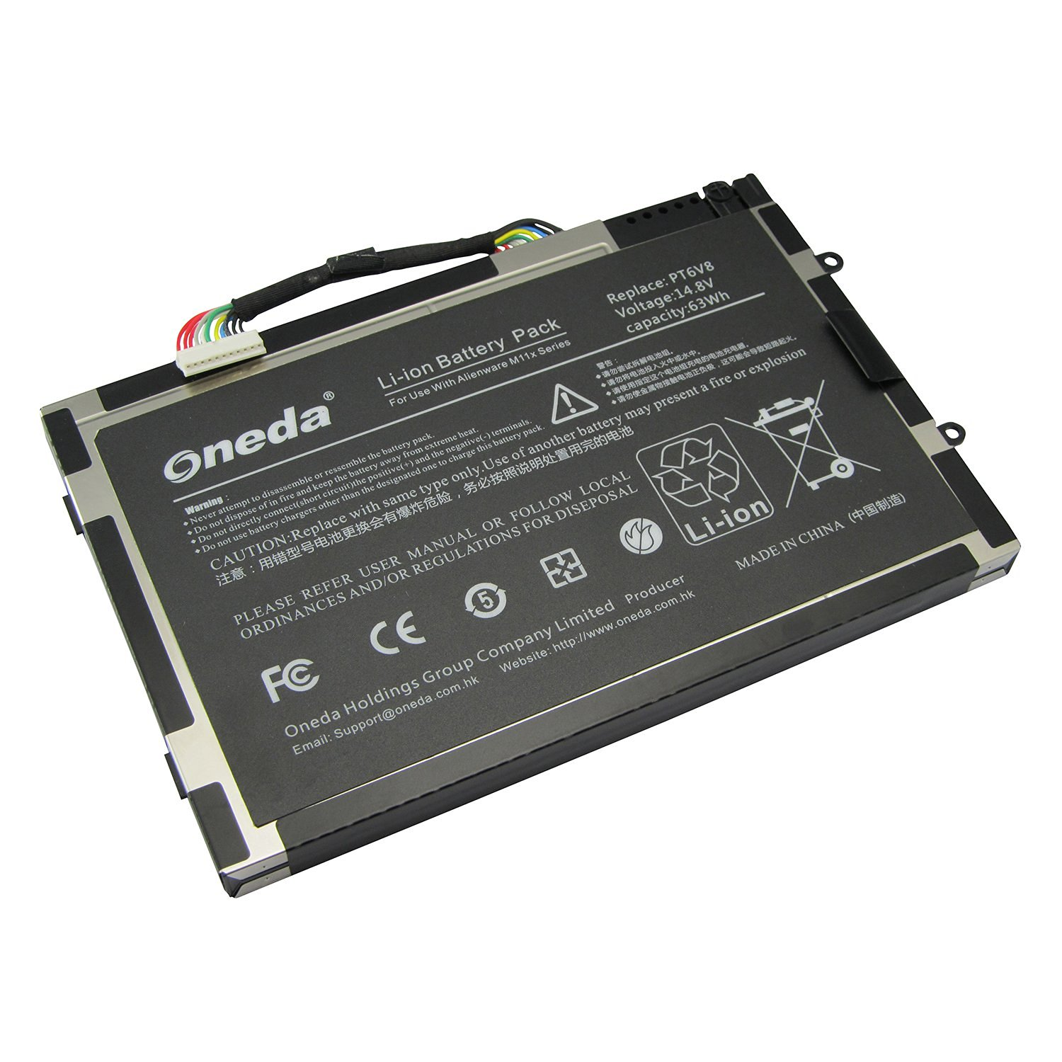 Oneda New High Performance Laptop Notebook Battery for Dell Alienware M11x R1 R2 R3 M14x Series ; Fits P/N: PT6V8 8P6X6 08P6X6 KR-08P6X6 T7YJR P06T Replacement batteries Pack [8-cell / 14.8V-63Wh]