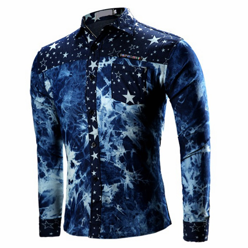 Hot sale factory direct price 2017 fashion patchwork mens shirt male digital printed long sleeve shirt tops for wholesale