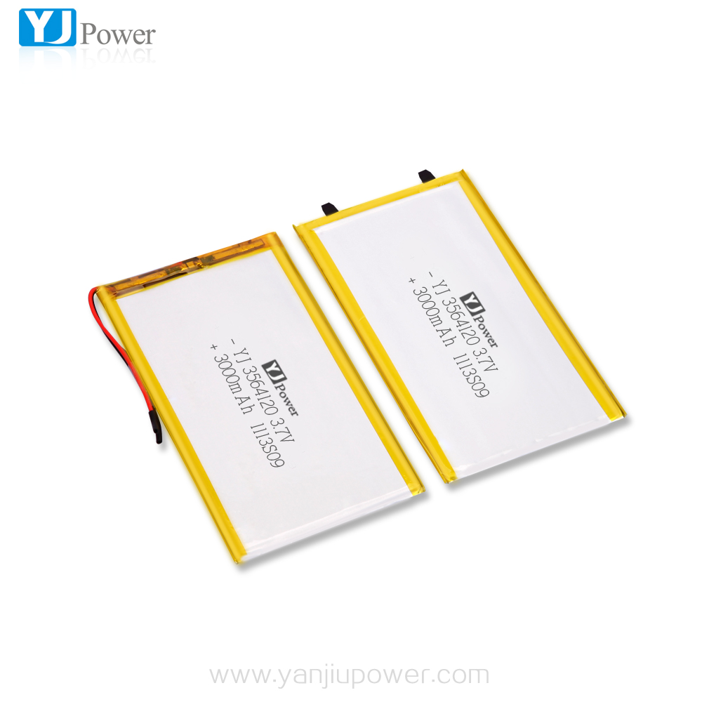 High quality 100% real capacity 3.7V 3.8V 3564120 3000mAh lipo battery