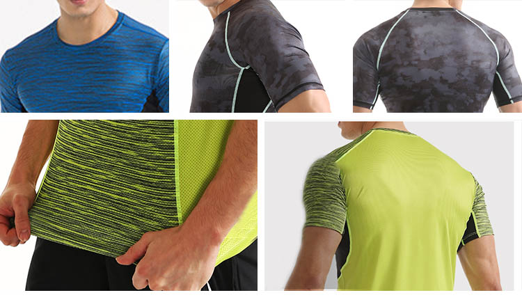 Mens sports wear T-shirt yoga sets fitness tight Quick Dry shorts clothes Factory price