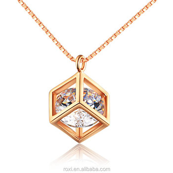 Rose Gold Plated Square Pendant Necklace Ladies Necklace Best Wedding Accessory