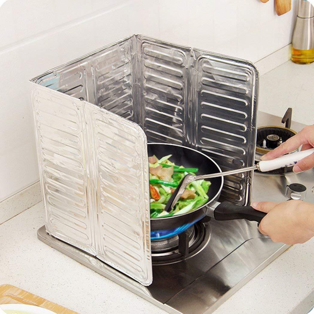 MIOIM 1Pcs Kitchen Stove Foil Plate Gas Stove Baffle Plate Aluminum Foil Frying Oil Splash Guard Cooking Cover Anti Splatter Shield Screen
