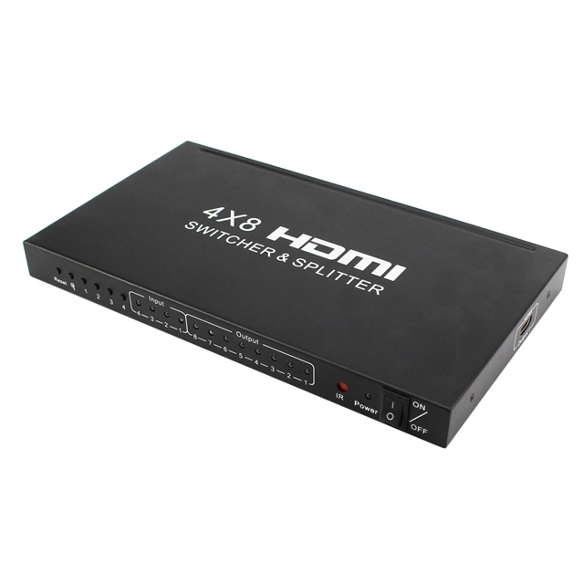 4x8 HDMI Matrix Switch Splitter  Audio Video Converter with IR Remote, support 3D 1080P 4K EDID  For PS3 DVR CCTV