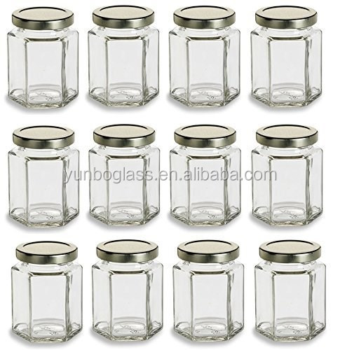 Hexagon empty glass honey jar or honey glass container