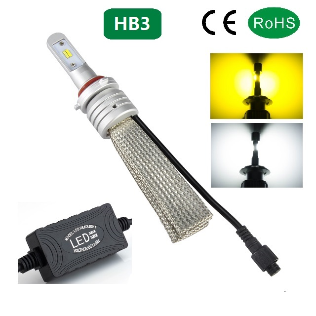 Golden and Cool colour free swtich led car headlight 22w 4000lm led vehicle head bulbs for hb3 h4 h7 h13 9004 9007