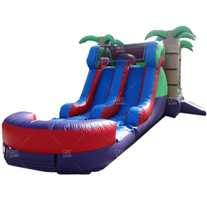 Children amusement park long channel slide inflatable castle for sale