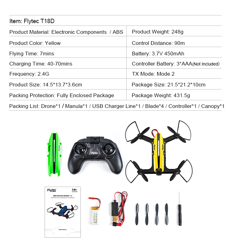 15. T18D_Yellow_Racing_Drone_with_Altitude_Hold_WIFI_FPV_RC_Drone