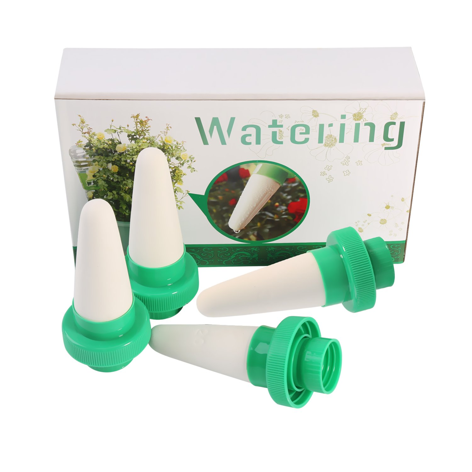 Automatic Drip Irrigation Watering Bulbs Globes Stakes System Plant Waterer Self Watering Spikes Automatic Vacation Plant Waterer Nannies devices with Slow Release Control valve switch 12 Pack