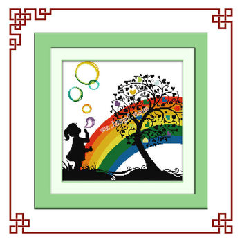 Nkf Rainbow Bubble Girl(2) Cross Stitch Free