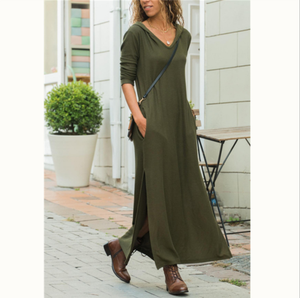 Women Autumn Hooded Pencil Maxi Dress Ladies Long Sleeve Casual Slit Dress
