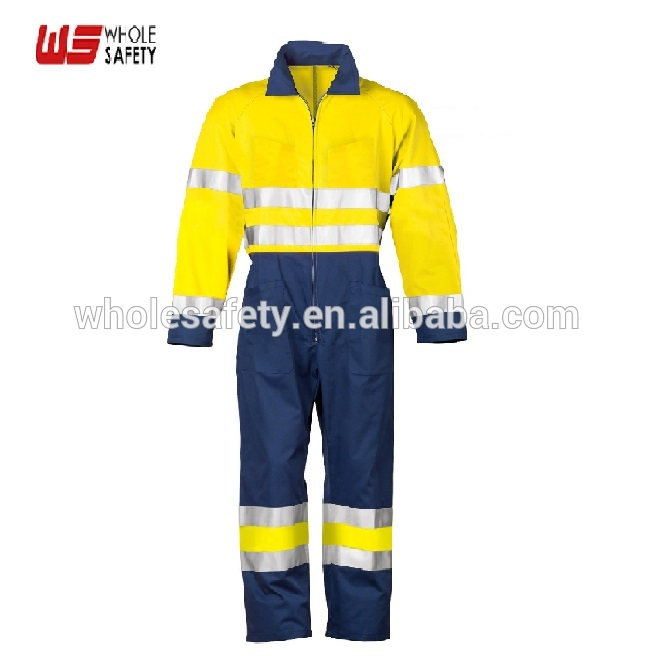 Hi vis Viz Safety Workwear Coverall Overall Boiler Suit Full Body Protection