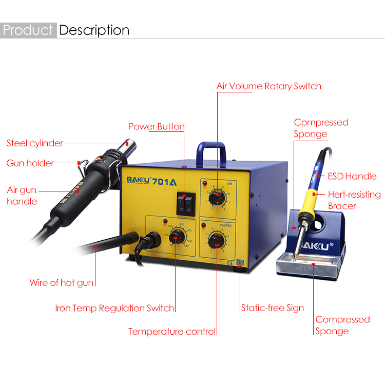 2 in 1 Rework Station heat air gun with solder iron BK701A BAKU New Design