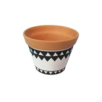 terracotta Colored Drawing Flower Pot, Planter pot