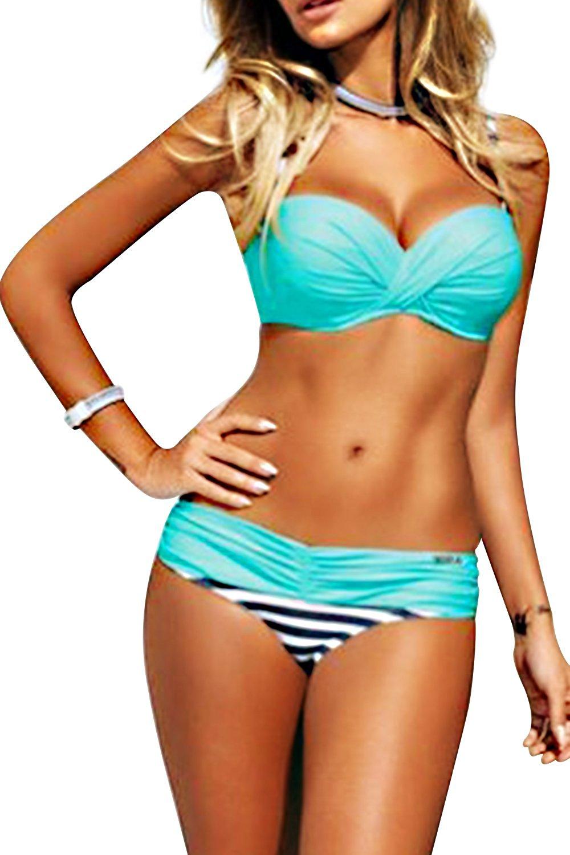 978c34b4c70 Get Quotations · Sunm boutique Women's Push up Two Piece Bikini Swimsuits  Padded Swimwear Bathing Suits