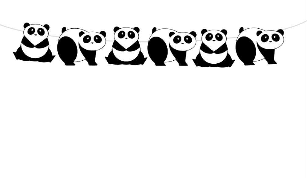 "Crafty Cue 5"" Tall Pagoda Panda Bear Garland, Panda Bear Banner, Panda Bear Baby Shower, Panda Bear Birthday Party, Panda Bear Decorations, 5"" Tall Pandas on 6' String"